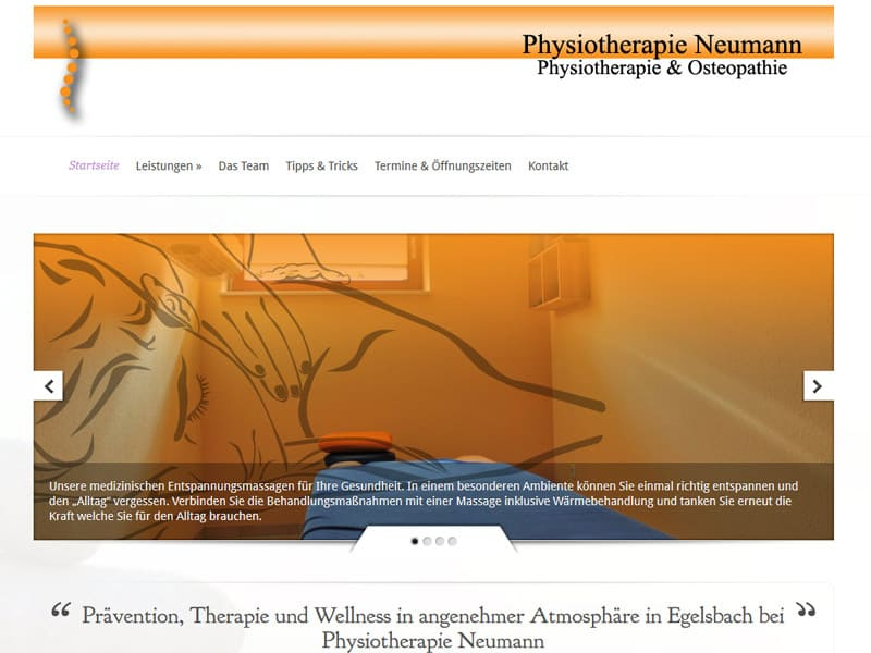 Website Physiotherapie WordPress