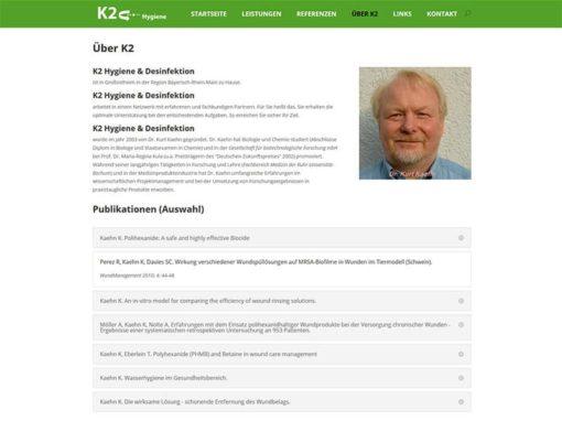 Puristische Homepage Re-Design für K2 Hygiene & Desinfektion