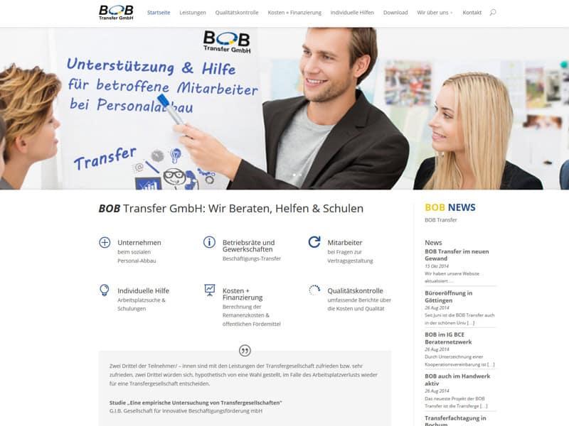 Erstellung Website mit Dvi 2.0 für BOB-Transfer