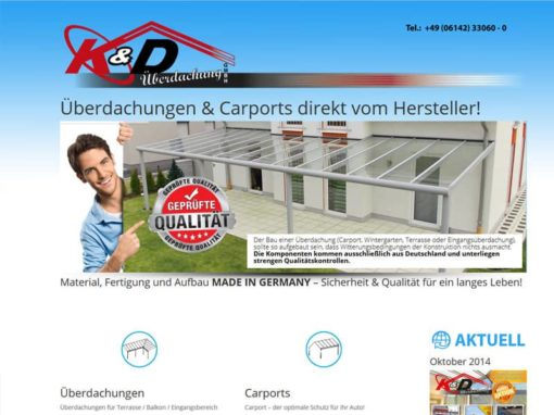 Relaunch Website für K&D Überdachung mit vielen Extras