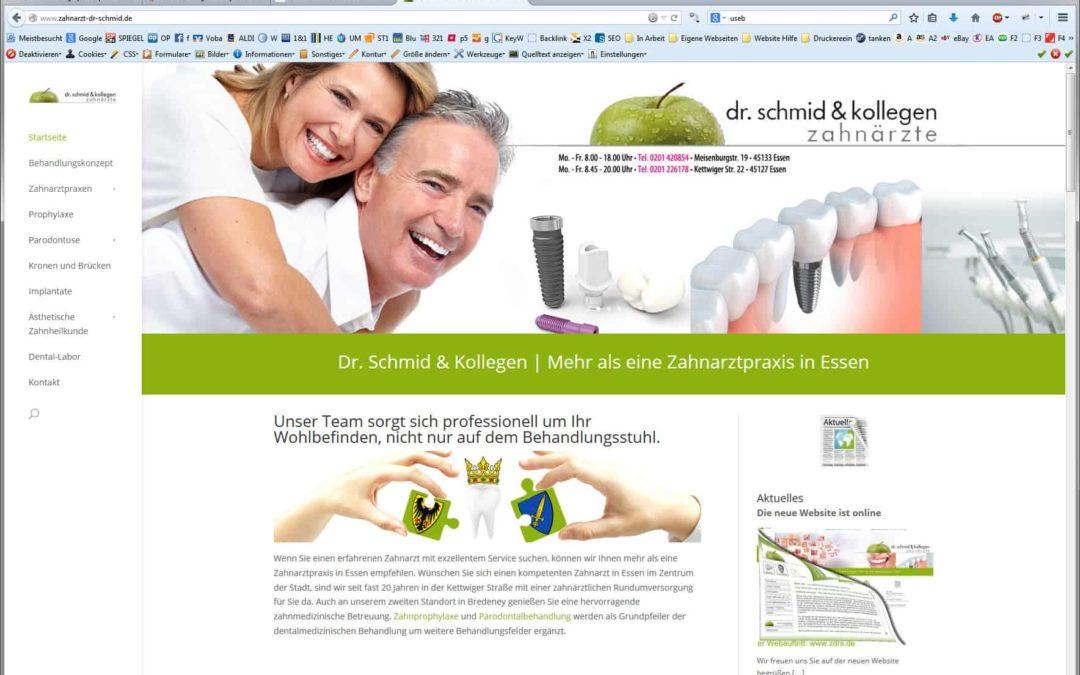 Relaunch Homepage / Website für Zahnarzt Dr. Schmid aus Essen