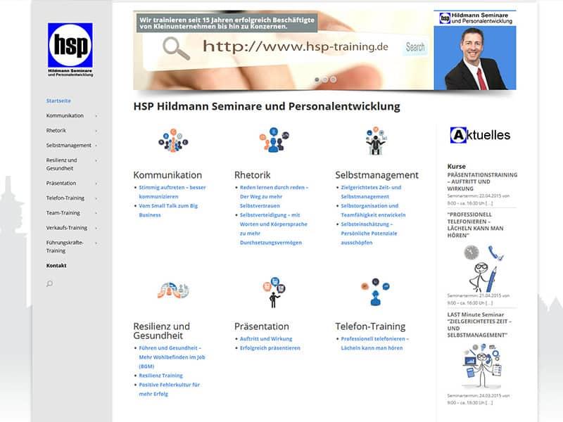 WordPress Website erstellt für HSP Hildmann Seminare / Personalentwicklung