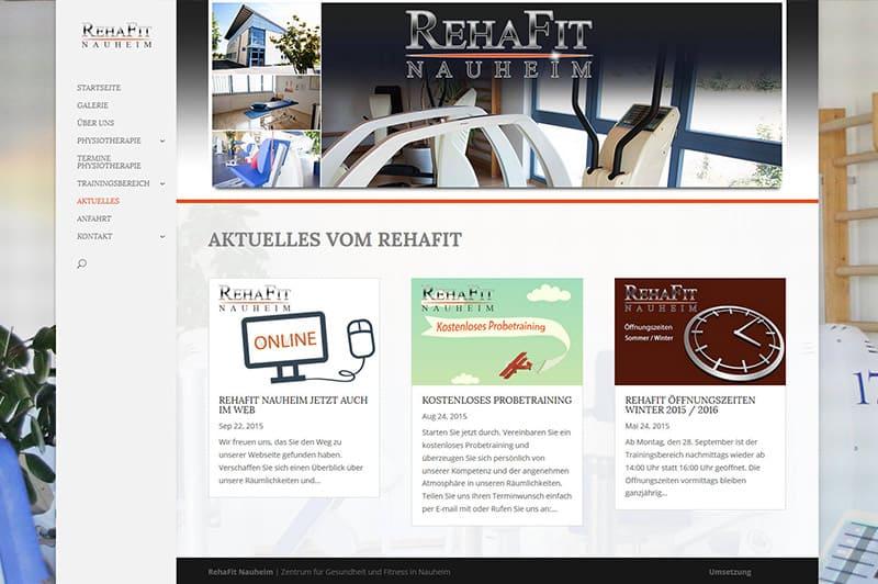 RehaFit Nauheim : Webdesign für das Fitnesszentrum