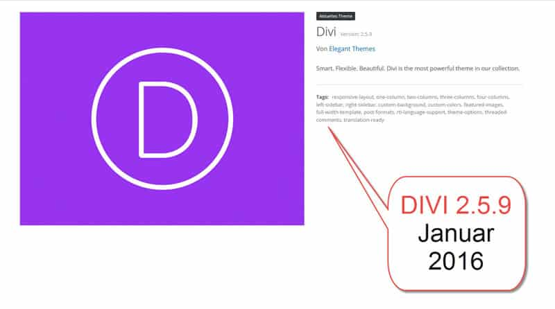 Divi WordPress Theme Upgrade auf 2.5.9