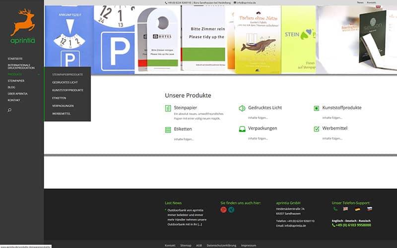 Kontaktseite Homepage aprinta