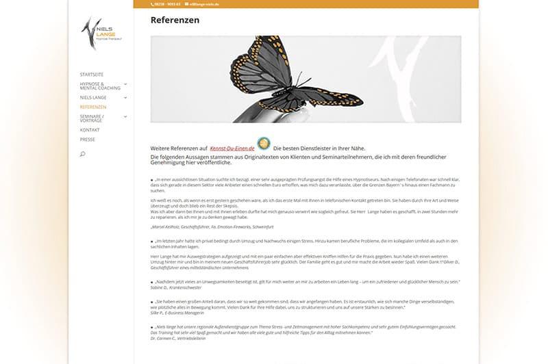 Webauftritt für Hypnose & Mental Coaching