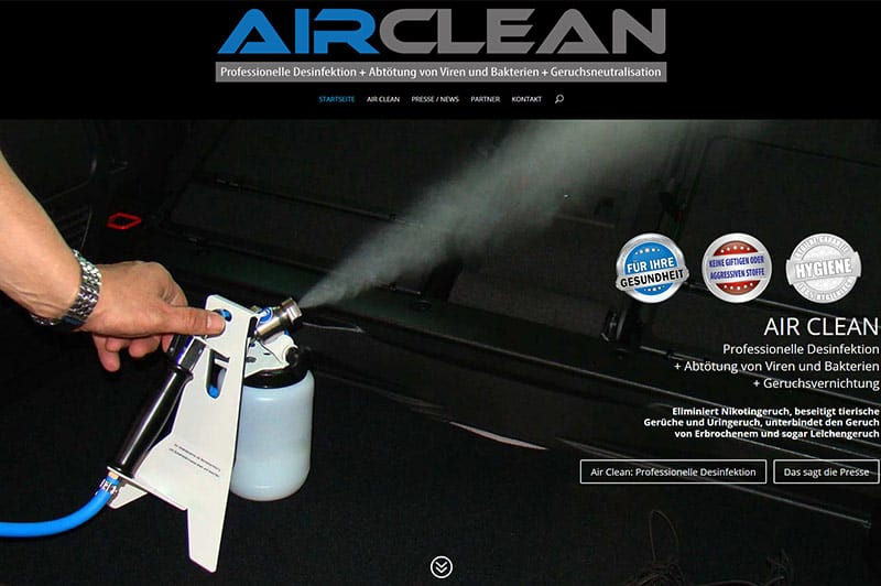 Webdesign für Air Clean