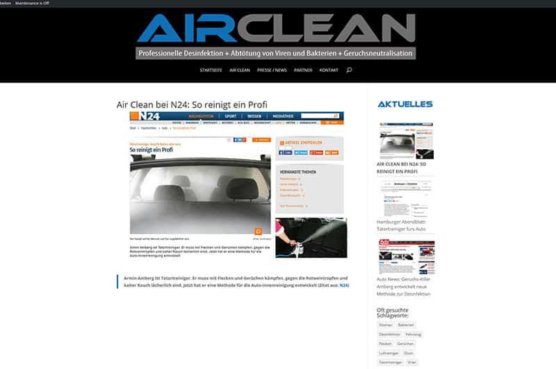 Homepage für fahrzeugdesinfektion
