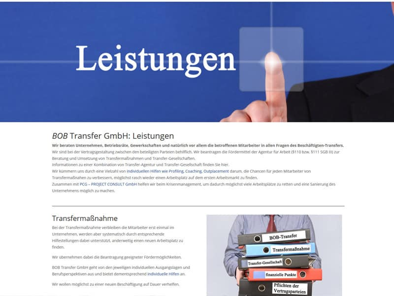 Erstellung / Relaunch für die Homepage BOB-Transfer in Essen