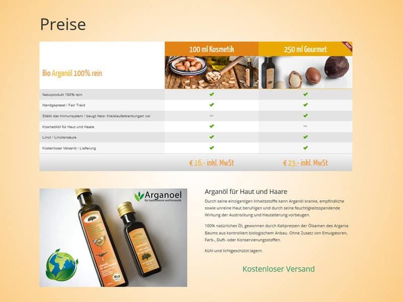 Homepage für Arganöl aus Dreeich