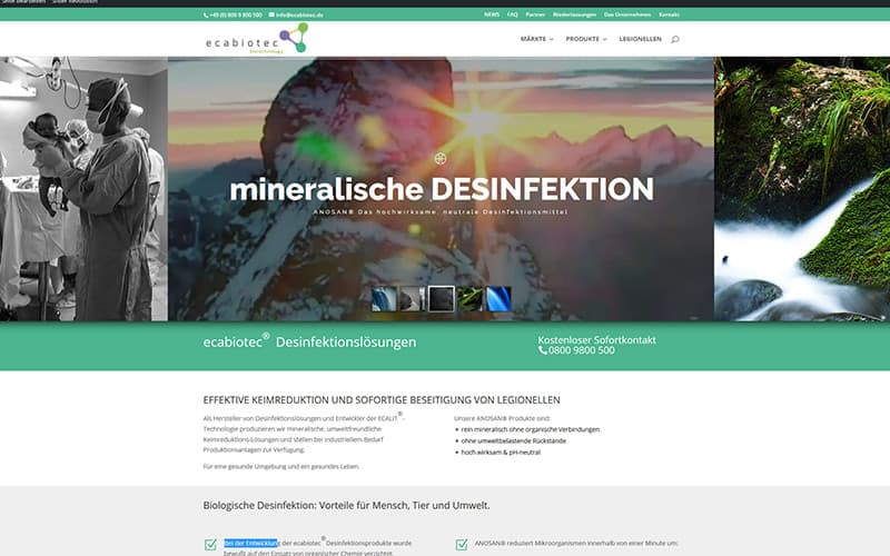 Website mir Revolution Slider und Multi language