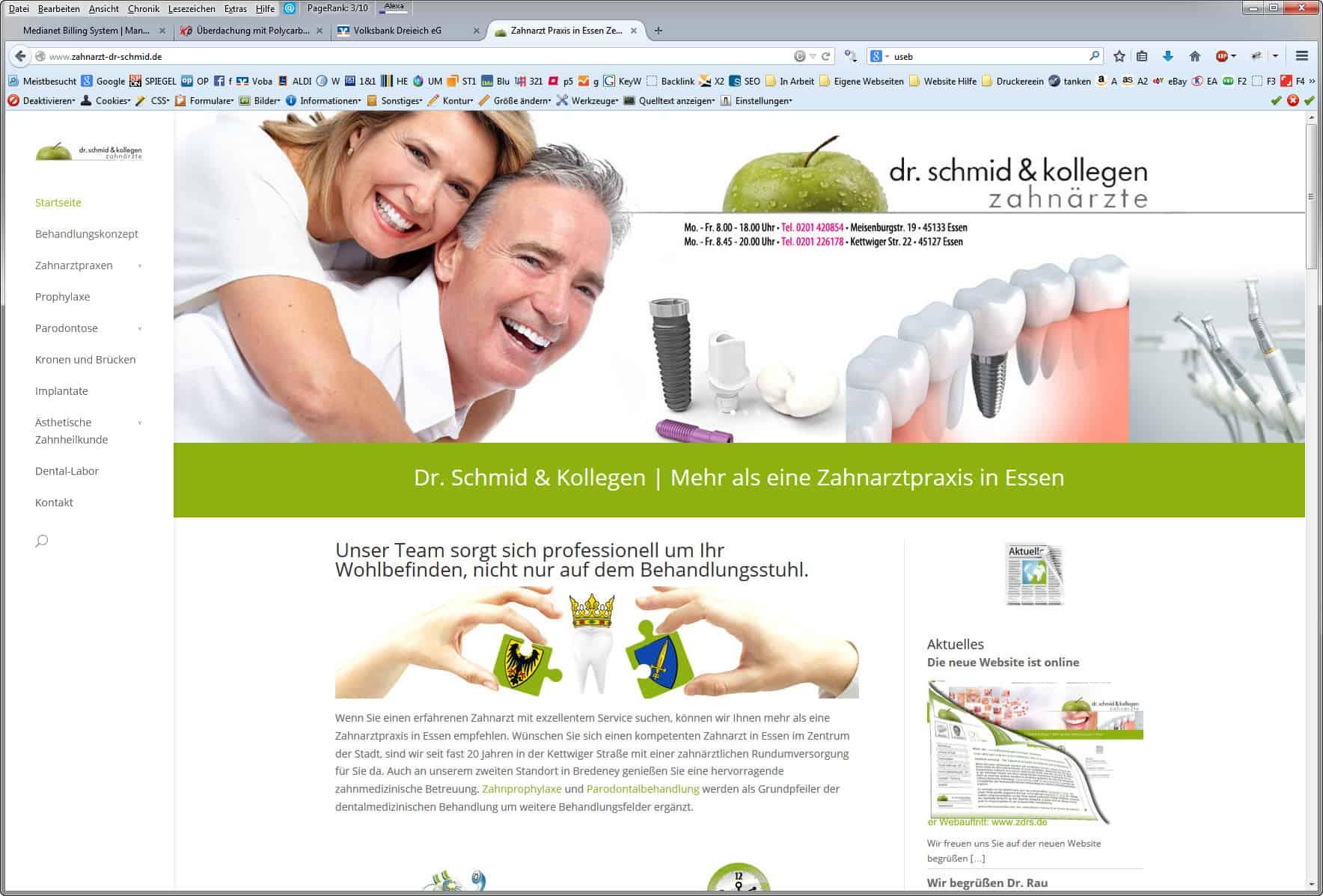 Fußbereich der Zahnarzt Homepage mit SEO Links
