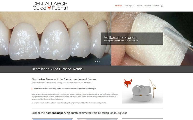 Homepage für ein Dentallabor