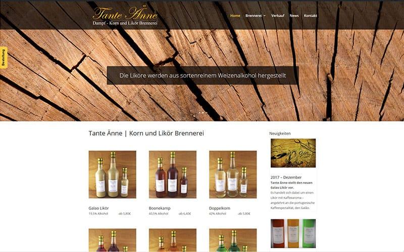 Website für eine Korn und Likör Brennerei