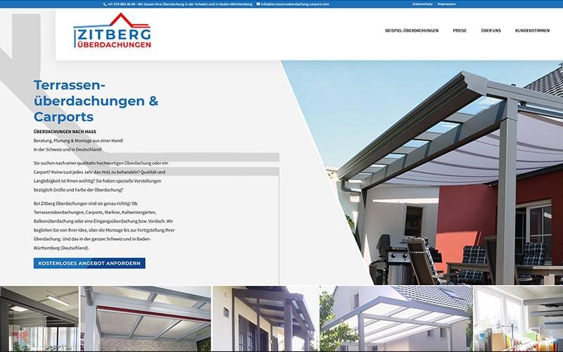 Onepager für Überdachungs-Unternehmen