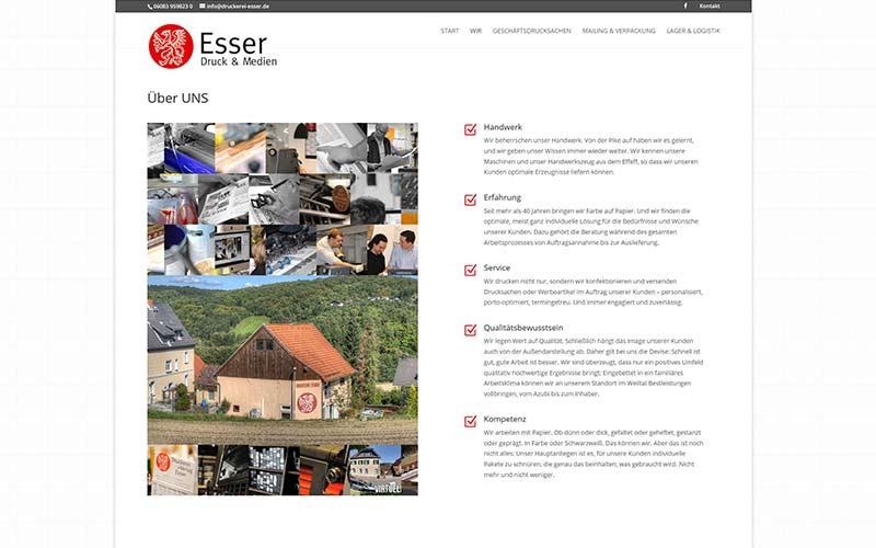Homepage für eine Druckerei