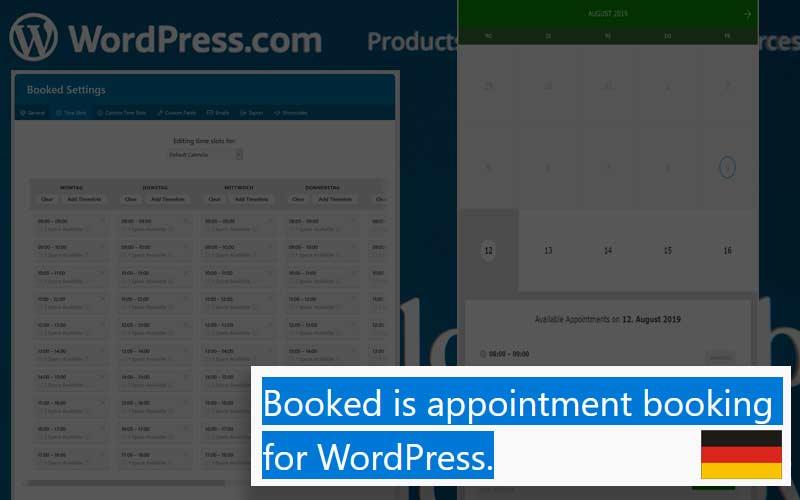 WordPress Termin-Buchungs Plugin Booked von Boxy Studio
