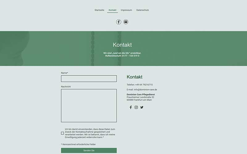 Baukasten IONOS Pflegedienst Homepage