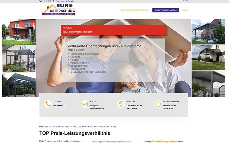 Website, Flyer und vieles mehr für Euro Überdachung FFM