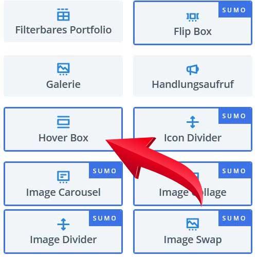 Hover Box Modul von Divi / WordPress