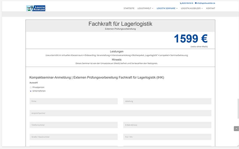 Schwetzingen | Erstellung einer Homepage für Logistikausbildung