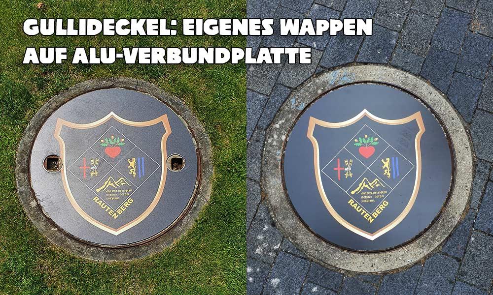 Gully-Deckel: Eigenes Wappen auf Alu-Verbundplatte